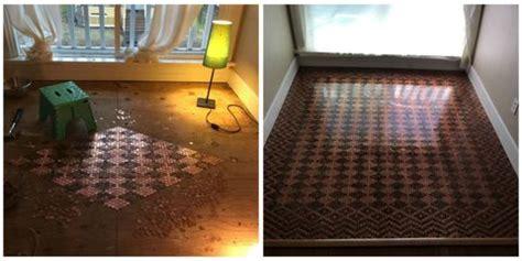 diy floor  pennies    floor design  pennies