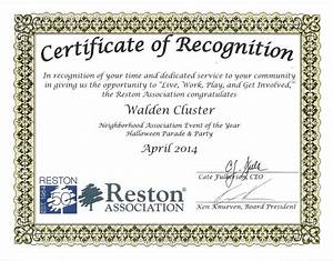walden cluster reston virginia neighborhood With recognition of service certificate template