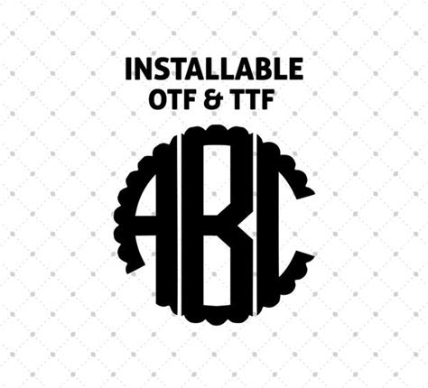 installable scalloped circle monogram font otf  ttf format svg cut studio