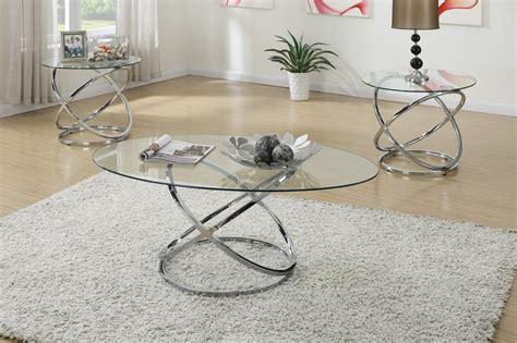 Clear Metal Coffee Table Set  Stealasofa Furniture