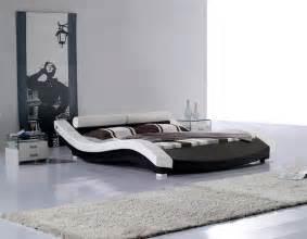 modern leatherette platform bed cr1930 contemporary bedroom