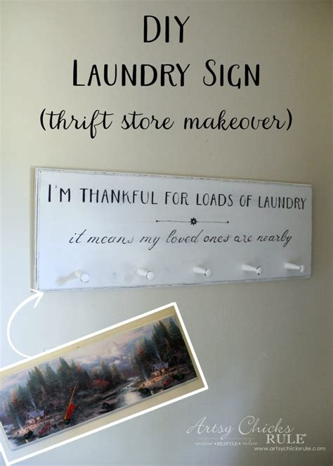 diy laundry sign thrift store makeover artsy chicks rule