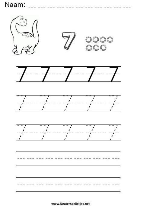 Werkbladen Leren Schrijven by Cijfer 7 Leer Het Cijfer Zeven Schrijven Werkblad Om Te
