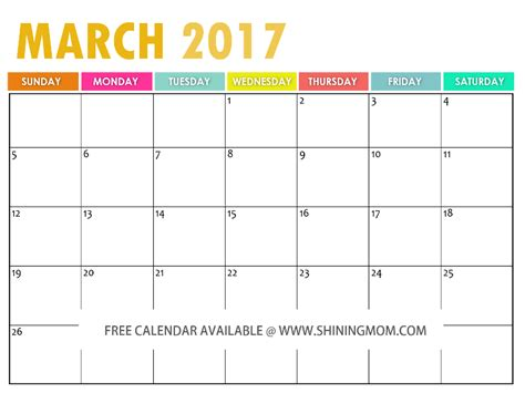 march 2017 calendar template the free printable 2017 calendar by shining