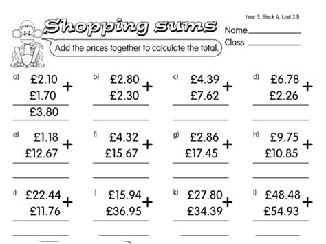 junk shop sums a year 5 addition worksheet