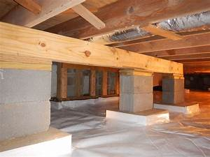 crawlspace helper beam to prevent the joists from With structural floor joists