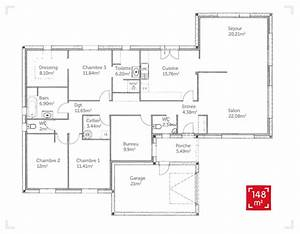 plan de maison plain pied 150 m2 plans maisons With plan appartement 150 m2 2 plan de maison un plancher