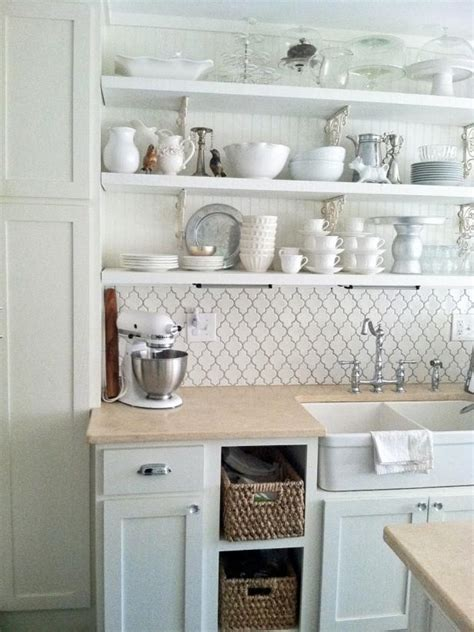cottage style kitchens photos white cottage style kitchen with open shelving and a 5926