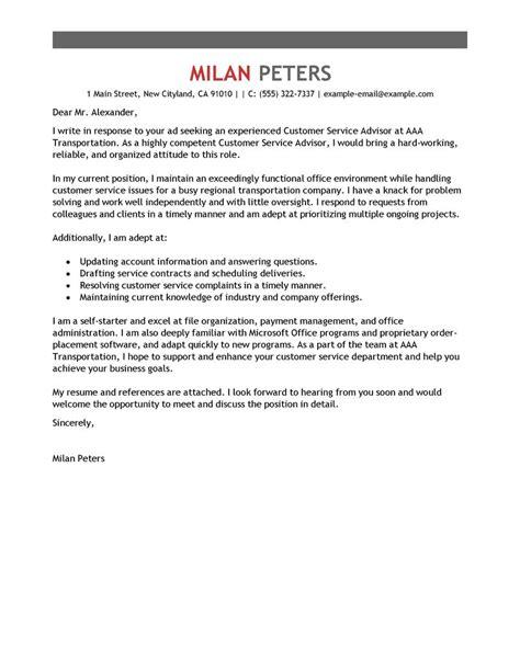 customer service advisor cover letter exles