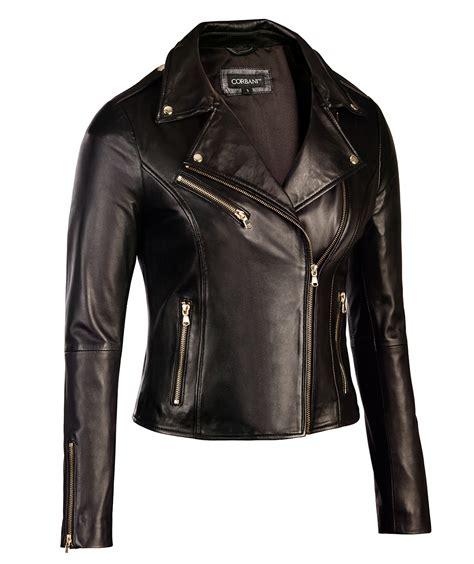 womens black leather biker jacket gold hardware genuine
