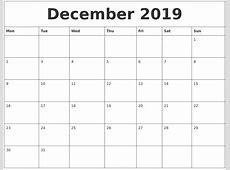 December 2019 Calendar PDF calendar for 2019