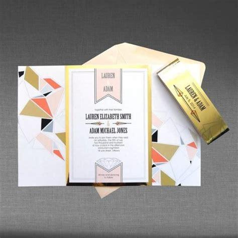 sle 1 wedding invitation modern geometric with metallic gold and blush pink accents