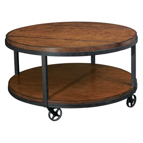 round wood coffee table round shaped wooden coffee table with wheels black metal