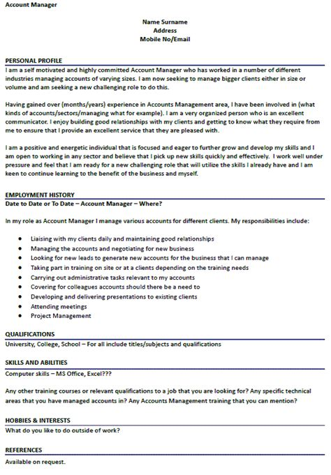Manager Profile by Account Manager Cv Exle Icover Org Uk