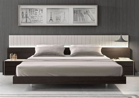 modern platform bed  wall mounted side tables idea feat