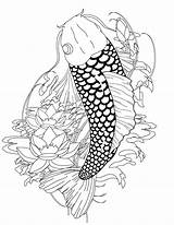 Coloring Koi Fish Pages Japanese Adult Adults Tattoo Printable Detailed Ink Clipart Drawing Patterns Paper Coy Pattern Popular Designs Recommended sketch template