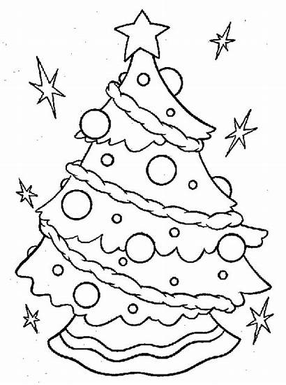 Coloring Tree Christmas Sheets Sheet Pages Clipart