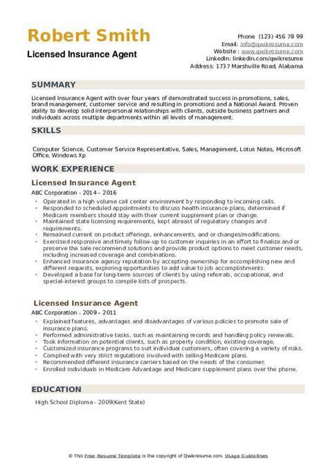 Commercial insurance broker resume examples & samples. Licensed Insurance Agent Resume Samples | QwikResume
