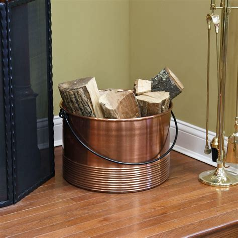 Ribbed Cauldron Copper Firewood Holder with Handle