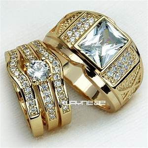 couples engagement rings for him and her set gold filled With gold wedding rings for him and her