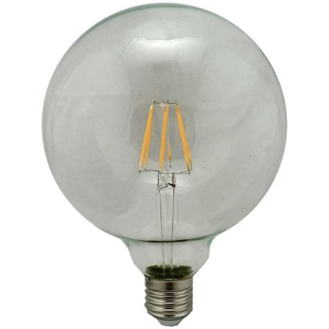 g125 globe led filament light bulb 6w warm white es