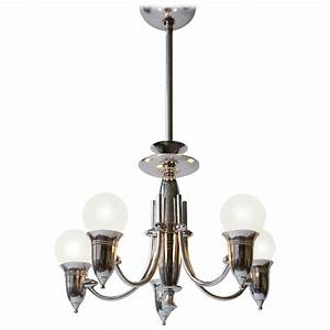 Art deco five arms nickel plated chandelier with two