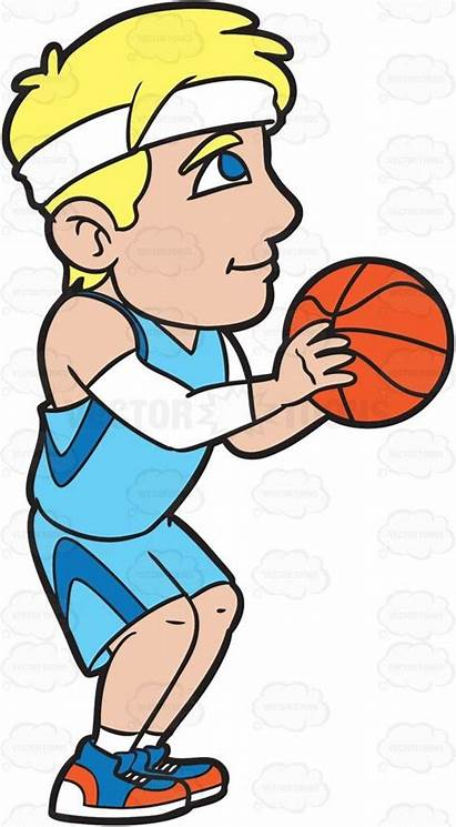 Basketball Shooting Cartoon Player Clipart Throw Players