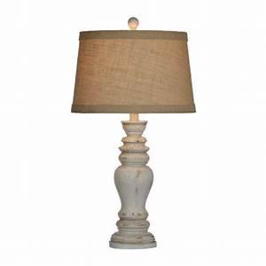 Rustic distressed cream table lamp cream table lamps for Distressed metal floor lamp