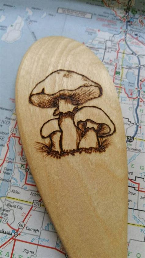 mushroom wood burned spoons pyrography wooden