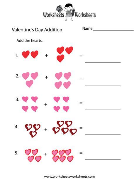 Valentine's Day Addition Worksheet  Free Printable Educational Worksheet