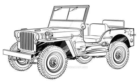 ww2 jeep drawing jeep willys by yassuo igai on deviantart