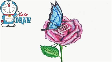 How To Draw Butterfly On The Flower Step By Step