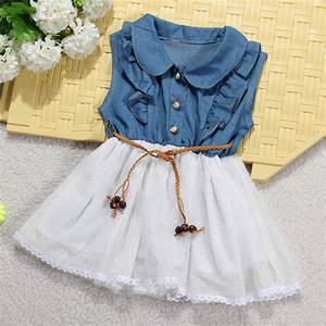 Fruit Baby Chart Buy Baby Girls Princess Denim Dress Lace Belt Tulle Skirt