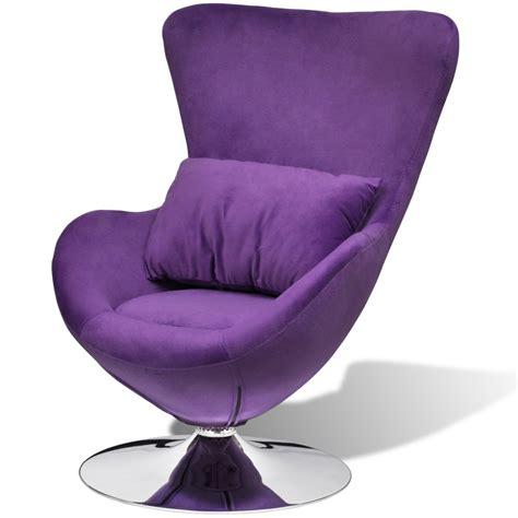 purple small purple egg swivel chair with cushion