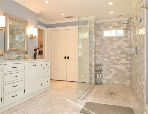 contemporary master bathroom with inset cabinets by betsy