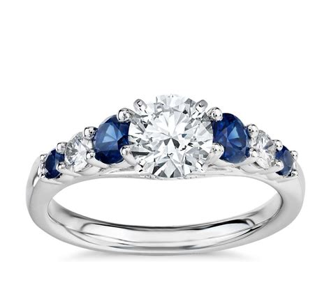 graduated sapphire and diamond engagement ring in 14k white gold 1 5 ct tw blue nile