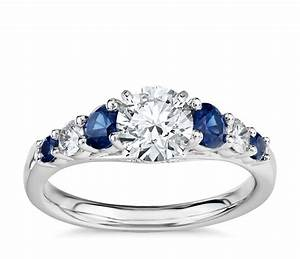Graduated sapphire and diamond engagement ring in 14k for Wedding ring with sapphires and diamonds
