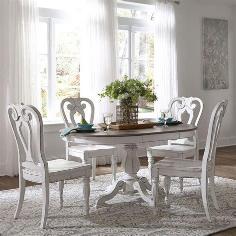 magnolia manor pedestal dining set  wood chairs liberty