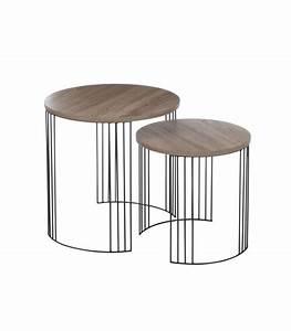 Set De Table Design : set de 2 tables basses gigognes en bois et m tal noir design ~ Teatrodelosmanantiales.com Idées de Décoration
