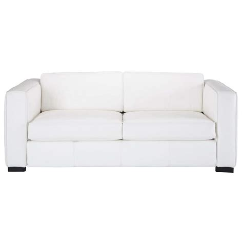 canapé blanc en cuir canapé convertible 3 places en cuir blanc berlin maisons