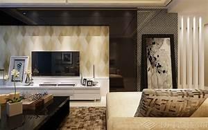 现代简约客厅壁纸电视背景墙装修效果图片_土巴兔装修效果图