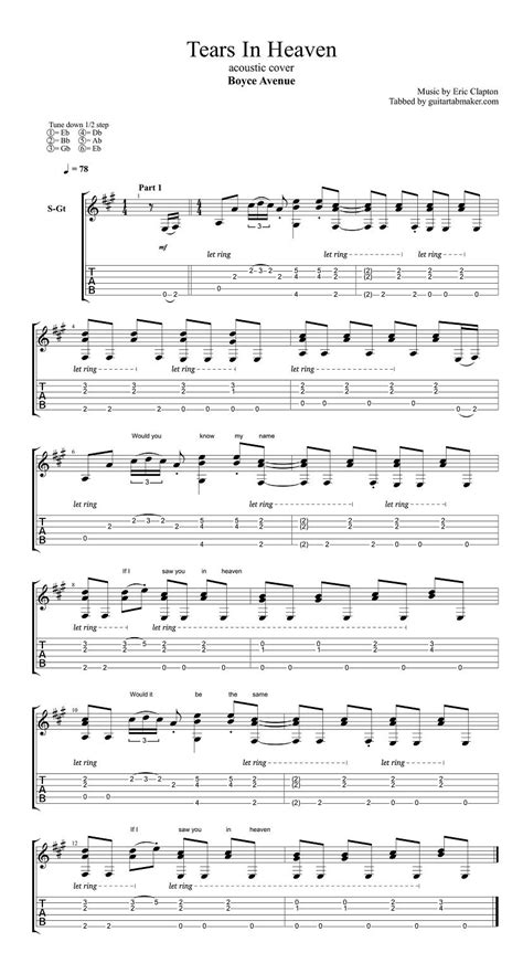 boyce avenue tears  heaven guitar tabs acoustic