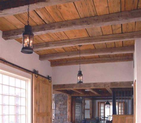 great exposed beam ceiling lighting ideas wood plank