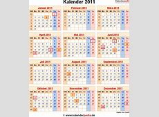 Kalender 2011 mit Feiertagen und Kalenderwochen