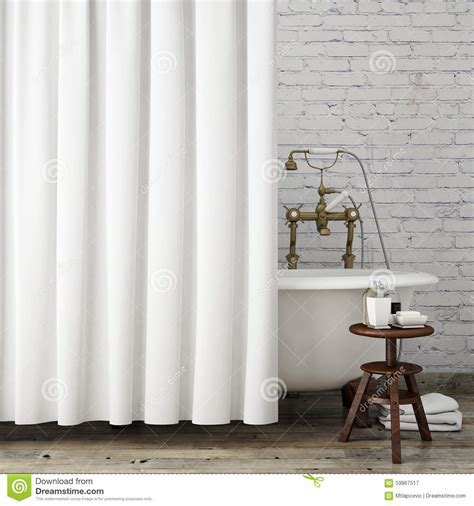 Mock Up Vintage Hipster Bathroom With White Curtains