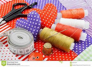 Handicraft Hearts, Fabric Materials And Items For Sewing