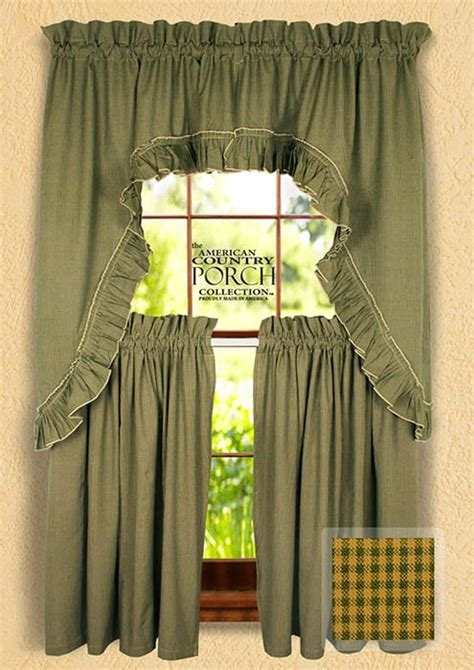 Cottage Green Minicheck Ruffled Window Curtain Swags