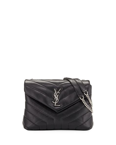 womens loulou monogram ysl small  flap chain shoulder bag miroir hardware black saint