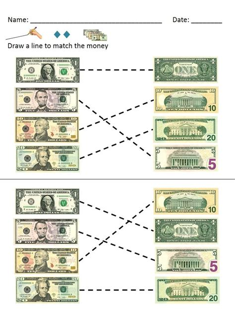 money math dollar bills identification   worksheets