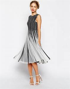 asos spot mesh insert fit and flare midi dress asoscom With fit and flare dress for wedding guest
